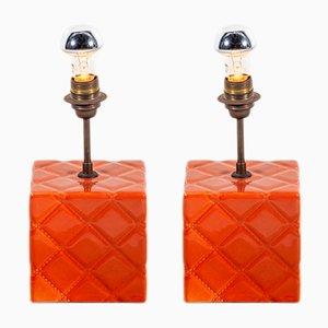 Lampes de Bureau Vintage en Céramique et en Cuivre, Set de 2