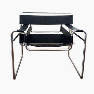 Wassily Chair mit schwarzem Lederbezug von Marcel Breuer für Knoll International, 1980er