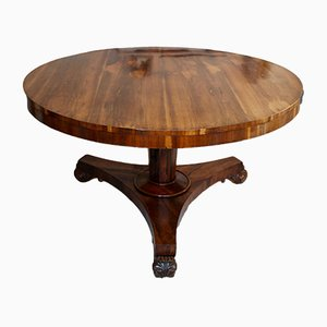 Round English Regency Rosewood Table, 1810s