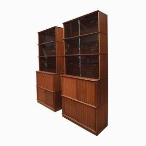 Librerie modulari vintage in teak e vetro, anni '60, set di 2