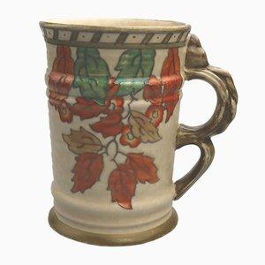 Art Deco Golden Leaves Vase by Charlotte Rhead for Crown Ducal, 1937