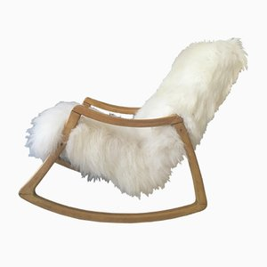 Vintage Bentwood and Fluffy Sheepskin Rocking Chair from TON