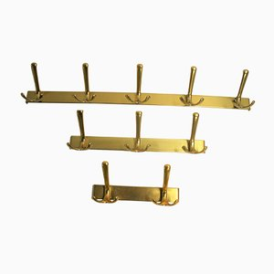 Vintage Brass Coat Racks, 1970s, Set of 3