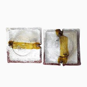 Lámparas de techo de vidrio de Toni Zuccheri para Mazzega, años 60