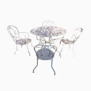 Tavolo da giardino Mid-Century con quattro sedie di Fermob, anni '60