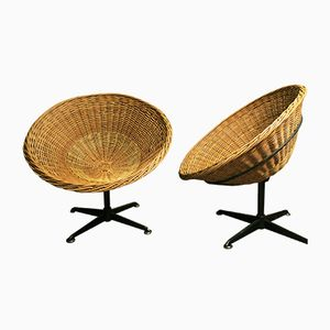 Mid-Century Rattan & Metal Lounge Pod Chairs, 1960s, Set of 2