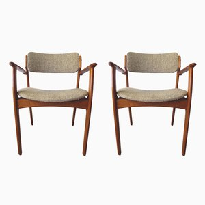 Vintage Danish Teak & Wool Model 49 Armchairs by Erik Buch for O.D. Møbler, 1960s, Set of 2