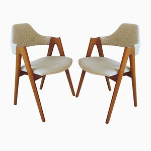 Vintage Compass Teak & Wool Chairs by Kai Kristiansen for SVA Møbler, 1960s, Set of 2
