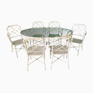 Juego de mesa de comedor de jardín y sillas de Brown Jordan, años 70. Juego de 7