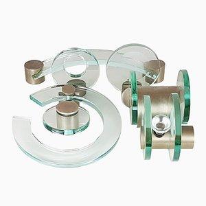 Juego de accesorios de baño de níquel, vidrio y latón de Fontana Arte, años 60
