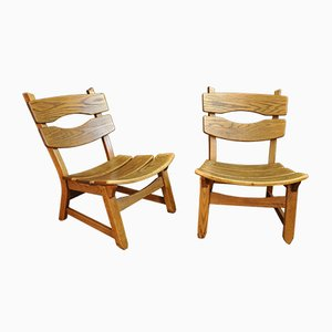 Oak Lounge Chairs, 1960s, Set of 2