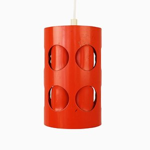 Perforated Orange Pendant Light, 1970s