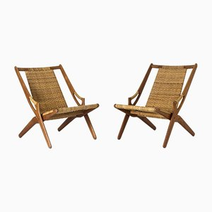 Rattan Lounge Chairs by Arne Hovmand Olsen, 1950s, Set of 2
