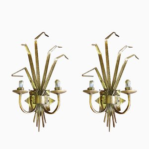 Gold-Plated Metal Sconces, 1960s, Set of 2