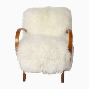 Vintage Mongolian Wool Lounge Chair