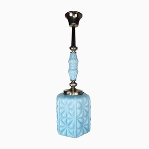 Lámpara de techo de cristal azul, años 20