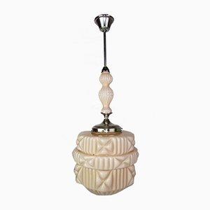 Große lachsfarbene Deckenlampe, 1920er
