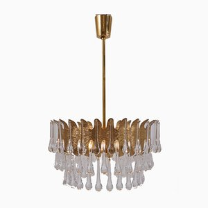 Gold Plated Gilt Brass Chandelier by Ernst Palme for Palwa, 1960s