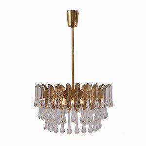 Lampadario in ottone placcato d'oro di Ernst Palme per Palwa, anni '60