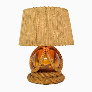 Vintage Braided Rope & Glass Table Lamp