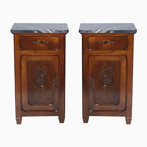 Antique Art Nouveau Walnut and Marble Nightstands, Set of 2
