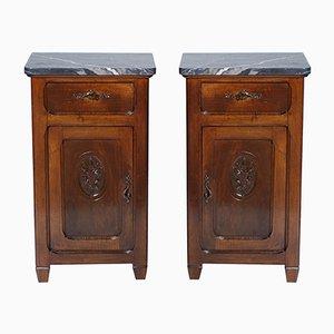 Comodini Art Nouveau antichi in noce e marmo, set di 2