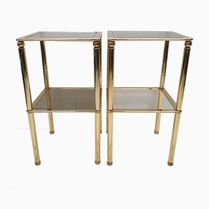 Gold Plated and Smoked Glass Side Tables, 1980s, Set of 2