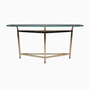 Brass and Faceted Glass Console Table, 1980s