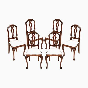 19th-Century Venetian Carved Walnut Chairs, Set of 6