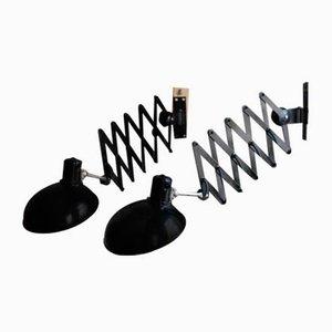 Lámparas de pared de acordeón negras de Helion Arnstadt, años 50