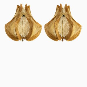 Vintage Raffia & Wood Ceiling Lamps, 1970s, Set of 2