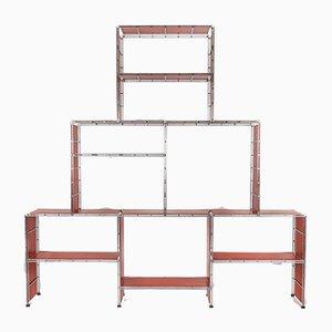 Modulares Regalsystem aus verchromtem Metall & lackiertem Holz von Multimueble, 1970er