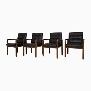 Rosewood & Black Leather Armchairs from Kondor, 1970s, Set of 4