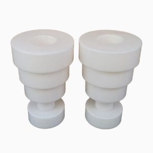 Vintage White Calice Vases by Ettore Sottsass for Kartell, Set of 2