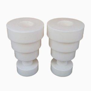 Weiße Vintage Calice Vasen von Ettore Sottsass für Kartell, 2er Set