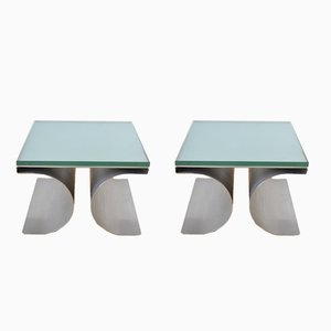 Tables X Brutaliste Vintage par Michel Boyer pour Uginox, Set de 2