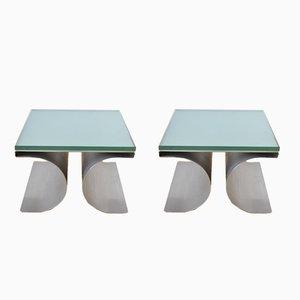 Vintage Brutalist X-Tables by Michel Boyer for Uginox, Set of 2