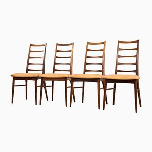 Scandinavian Modern Rosewood & Leather Dining Chairs by Niels Koefoed for Koefoeds Møbelfabrik, 1960s, Set of 4