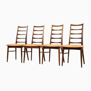 Sedie da pranzo moderne in palissandro e pelle di Niels Koefoed per Koefoeds Møbelfabrik, Scandinavia, anni '60, set di 4