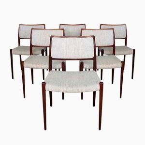 Dänische Mid-Century Modell 80 Rio Esszimmerstühle aus Palisander von Niels O. Møller für JL Møllers, 6er Set
