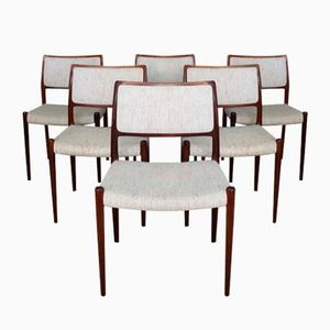 Mid-Century Danish Model 80 Rio Rosewood Dining Chairs by Niels O. Møller for J.L. Møllers, Set of 6