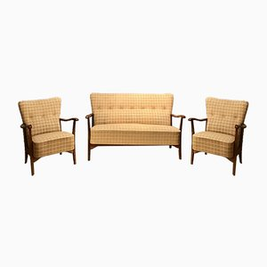 Vintage Swedish Sofa & 2 Armchairs from Lani