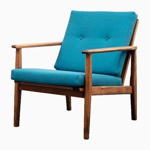 Vintage Petrol Blue Upholstered & Beech Armchair