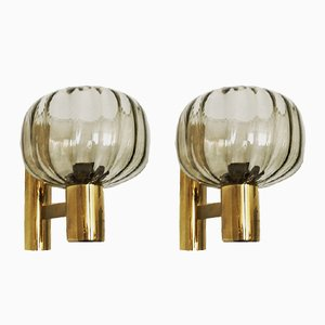 Smoked Glass Sconces, 1960s, Set of 2