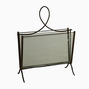Glass & Brass Magazine Rack, 1950s