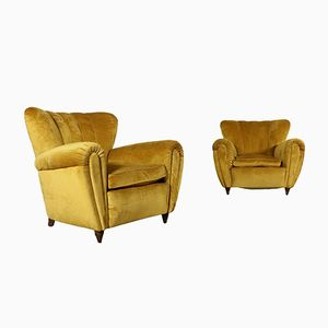 Vintage Italian Velvet Armchairs, Set of 2