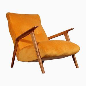 Vintage Beech & Velvet Armchair, 1950s