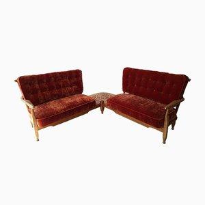 Sofá esquinero con mesa de centro de Guillerme et Chambron para Votre Maison, años 60