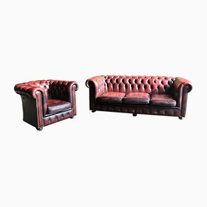 Vintage Chesterfield Sofa & Clubsessel, 1960er