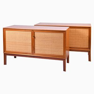 Oak & Rattan Sideboards by Alf Svensson for Bjästa, 1950s, Set of 2